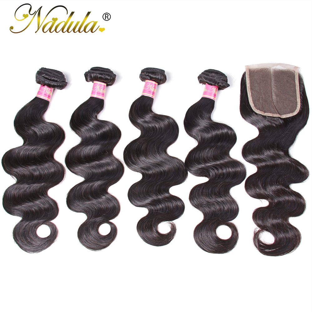Nadula Hair 3/4 Bundles With Closure Brazilian Body Wave With Closure 4*4 Swiss Lace Closure 100% Remy Human Hair Natural Color-in 3/4 Bundles with Closure from Hair Extensions & Wigs    1