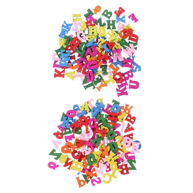 100pcs Wooden Letter Alphabet Word Carft DIY Decoration Button Kid Education Toy