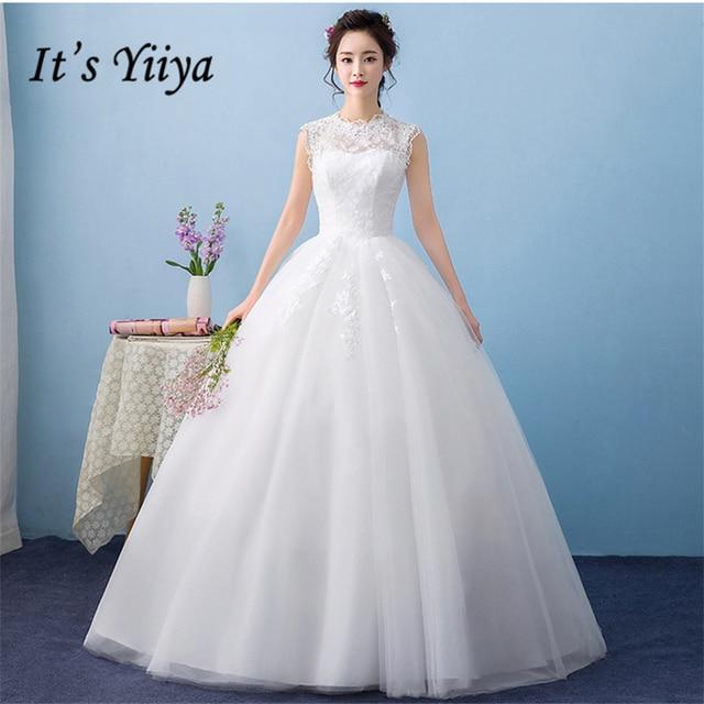New O neck White Princess Sleeveless Wedding Gowns Floor Length ...