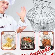 Foldable Steam Rinse Deep Fry Chef Basket Magic Basket Mesh Basket Strainer Net Kitchen Cooking Tool Stainless Steel Colander