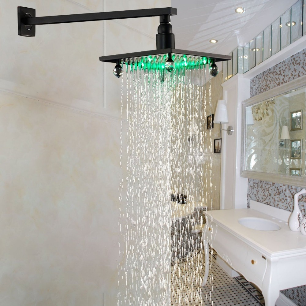 LED Light 8 Inch Rainfall Shower Head with Wall Mounted Shower Arm Oil Rubbed Bronze luxury led color changing 12 square rainfall shower head with brass wall mount shower arm oil rubbed bronze