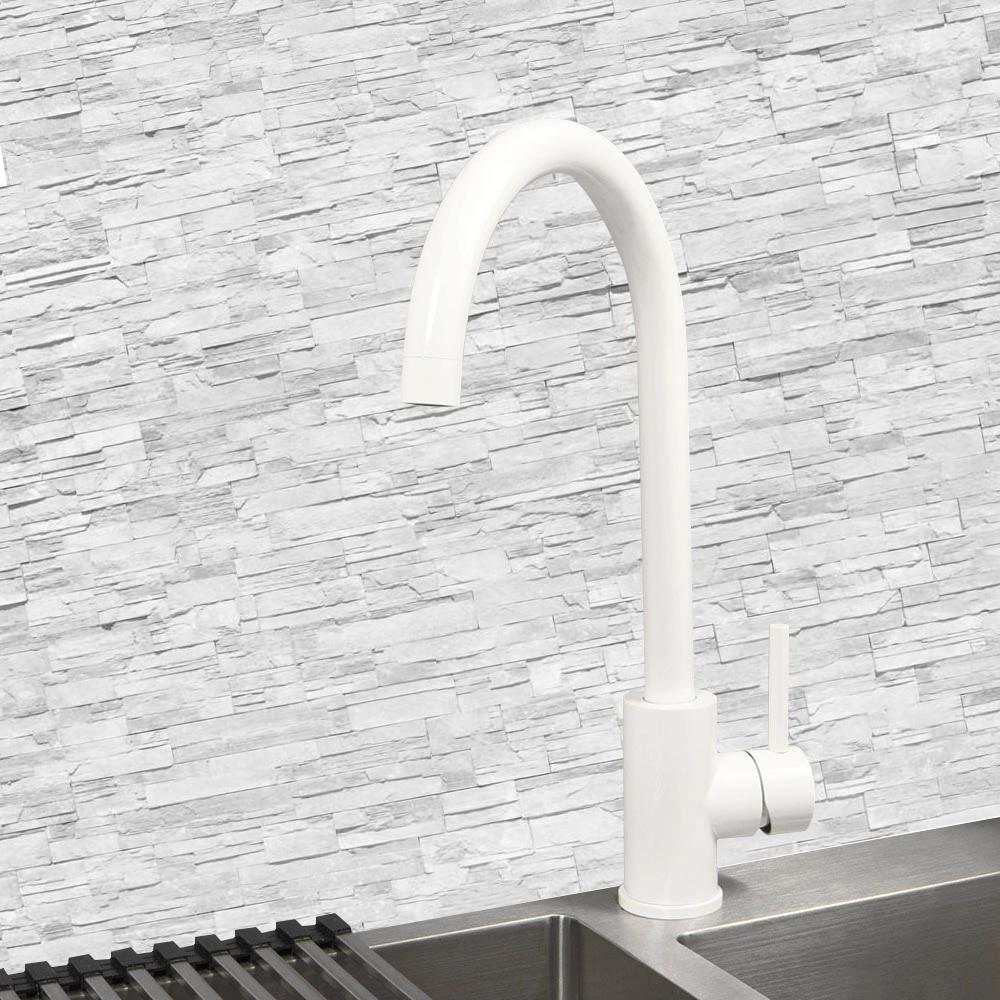 Купить с кэшбэком Black Single Hole Kitchen Sink Water Mixer Stainless Steel Kitchen Faucet Deck Mounted Water Tapware White And  Original Brushed