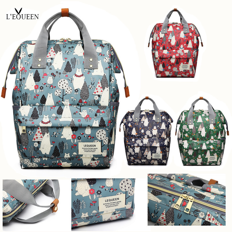 [NEW]LEQUEEN Diaper Bag Mini Bear Forest Hand Painted Cartoon Waterproof Nappy Bag Baby Care Travel Backpack Maternity Bag