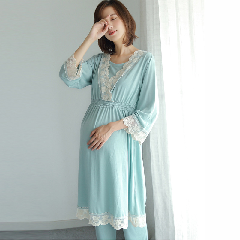 Cotton Maternity Pajamas Sets Adjustable Cardigan+Trousers Sleepwear V Collar Pregnant Women Nursing Clothing Lace Nightgown