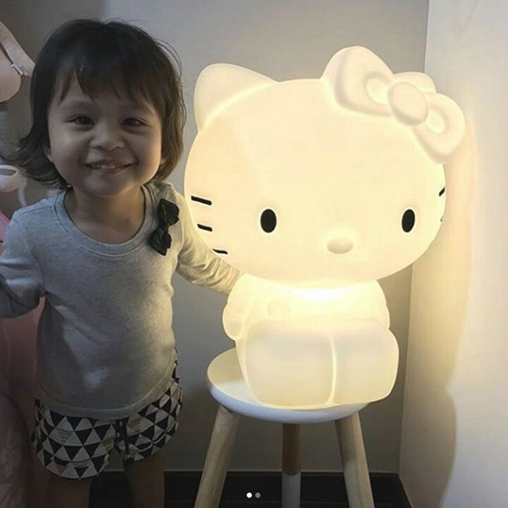 kitty cat night lamp children bedroom warm bedside EU Plug night light 46cm KT cartoon cat Hello Kitty lovely baby Nightlight kid baby hello kitty watches 2017 children cartoon watch kids cool 3d rubber strap quartz watch clock hours gift relojes relogio