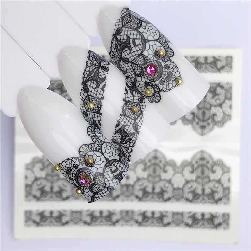 WUF 25 Designs For Choose Nail Art French Black Lace Flowers Design Water Transfer Full Cover Nail Sticker Decal