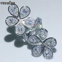 Vecalon кольцо в форме большого цветка 925 серебряная капля воды 5A кубический цирконий; для помолвки обручальные кольца для женщин украшения для