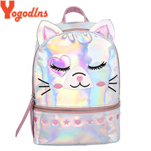 Yogodlns Cute Cat Mochila Mujer Laser Holographic Backpack Women Small Mini Backpack For Girls School Backpack PU Travel Bags(China)