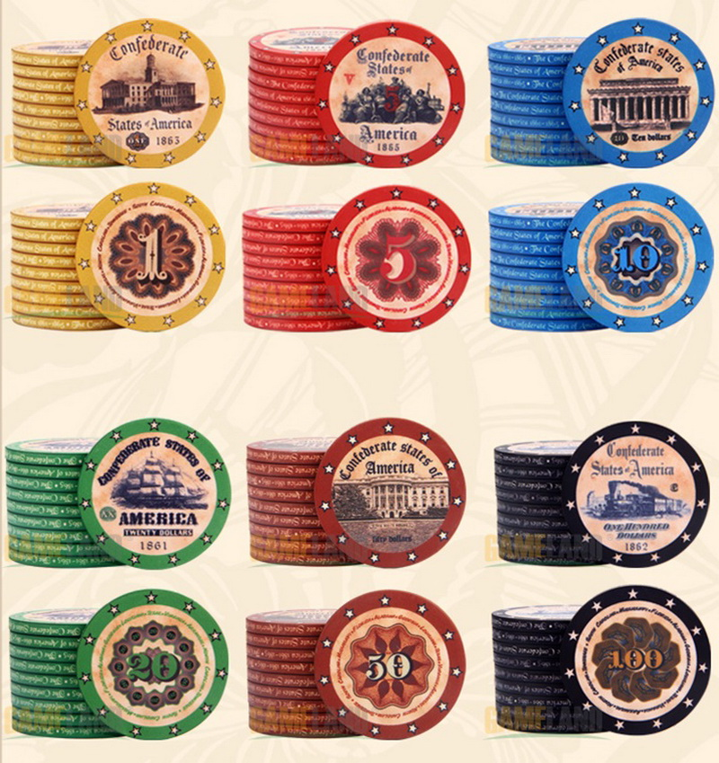 10PCS/LOT Premium Ceramics Chips 10 Gram America History Pattern High Quality Texas Hold'em Poker Gambling Casino Chip Wholesale