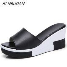 JIANBUDAN/ Outdoor Casual flat womens slippers Pu leather summer high heel Platform wedge shaped fashion beach shoes