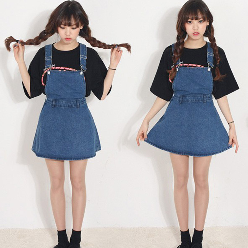 Us 149 15 Off2018 Summer New Arrival Women Sweet Jeans Strap Dress Student Casual Demin Sleeveless Above Knee Length Dress Slim D84805x In Dresses