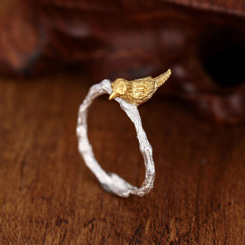 NEW 925 Sterling Silver Vintage Style Hand made Branch Bird Opening Ring Adjustable Rings for Women Fashion S925 Jewelry Gift in Rings from Jewelry Accessories