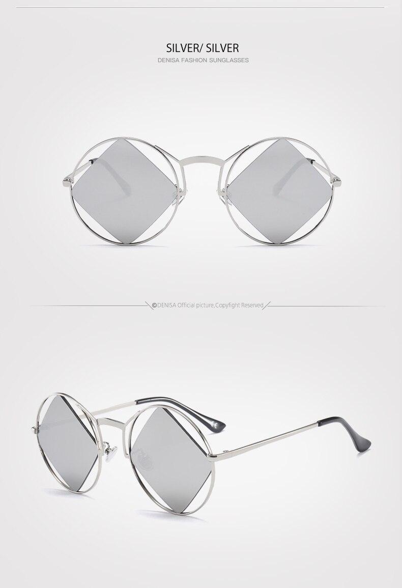 dbd9fd59be DENISA Brand Designer Rhombus Lens Vintage Lennon Sunglasses For Women 2018  Trendy Round Glasses Clear Retro Driving Sun Glasses Ladies UV400 Eyewear  Men ...