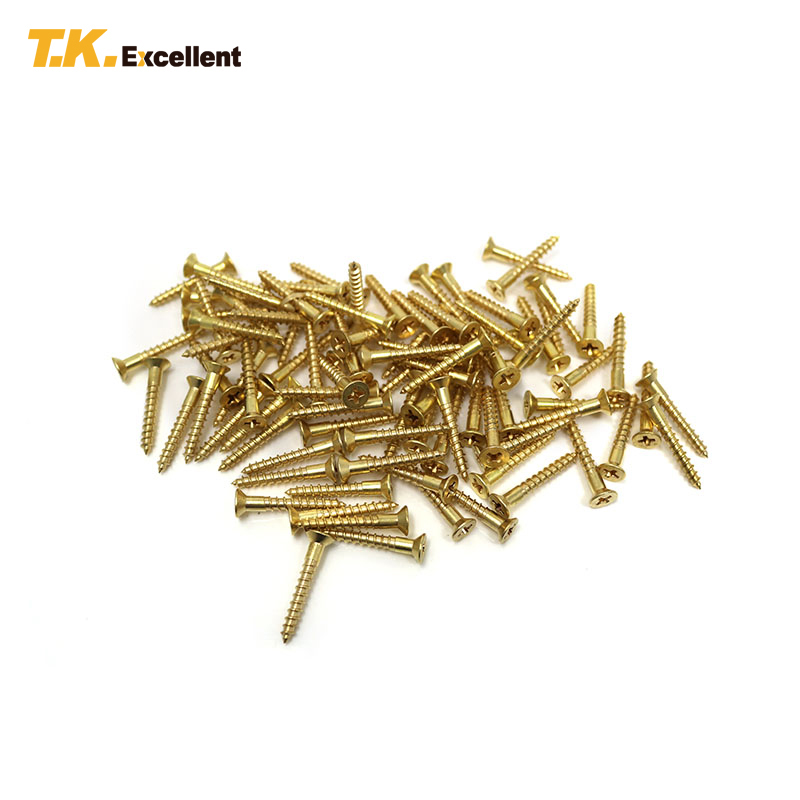 T.K.Excellent 100 Pcs Countersunk Cross Wood Screw Copper Home Decoration Hardware Fastener Tools Flat Head 3.5*25 Wood Screws t k excellent 2000 pcs fibreboard screws kit flat head q1022 cks head pozi chipboard hardware fastener tools home decoration