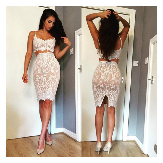 b918513e0a29a Sexy eyelash lace crochet women dress white lace two piece Bodycon lace  dress V-neck Sleeveless Strappy sheath summer dress 4399