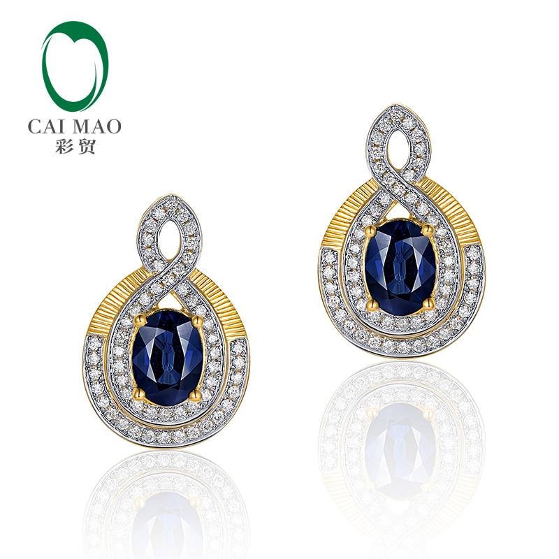 Caimao Jewelry 14K Yellow Gold Natural 2.06ct Sapphires & 0.43ct Diamonds Earrings