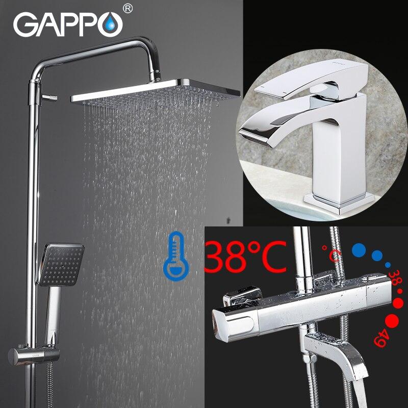 GAPPO Douche Robinets chrome salle de bains douche mélangeur bain douche head set mur-monté thermostatique robinet de douche bassin robinet
