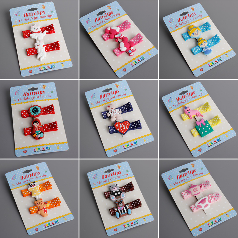цены 2 PCS Newly Design Cute Cartoon Animal kids Hair Clips Princess Barrette Baby Hairpins Children Headwear Girls Hair Accessories