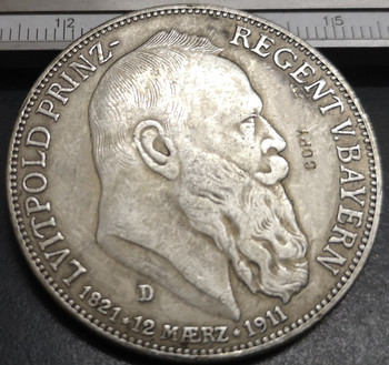 1911-D Kingdom Of Bavaria 5 Mark-Otto Silver Plated Copy Rare coin image
