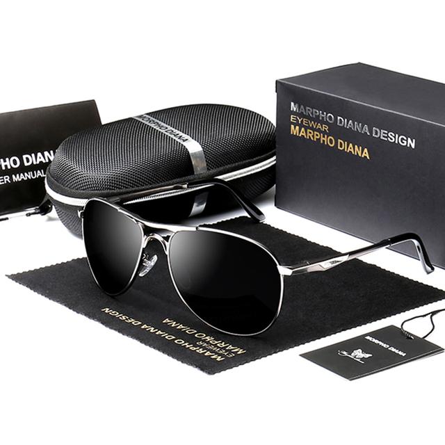 Hombres Classic Piloto gafas de Sol Polarizadas de Conducción Pesca Eyewear de Los Deportes Gafas de Sol Con Caja De Aluminio