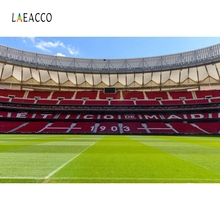 Laeacco Real Madrid CF Football Field Stand Soccer Team Portrait Photography Background Photographic Backdrops For Photo Studio sport football game vinyl photography backdrops digital printing for photo studio portrait photographic background s 1167