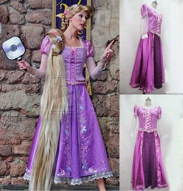 Livraison gratuite raiponce princesse longue pourpre Cosplay Costume robe pour femmes fille sur mesure
