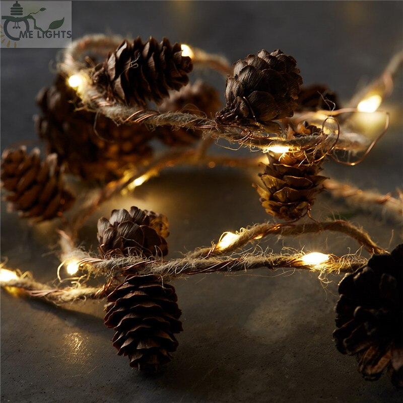 Ficelle et Cônes De Cuivre Lumières De Noël guirlandes chaîne de Pomme de pin Guirlande lumières pour Noël Arbre De Noël et Décoration de La Maison