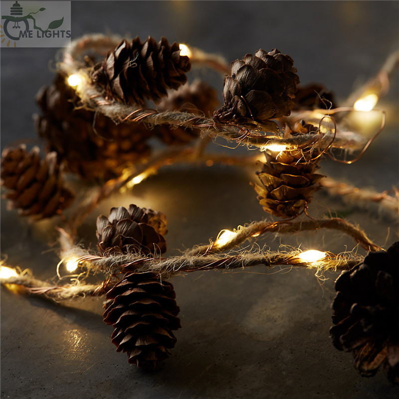Twine&Cones Copper Lights Christmas Fairy Lights Pinecone String Garland Lights For Xmas Holiday Tree And Home Decoration