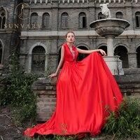 Sunvary Customized Luxus Satin Gericht Zug Brautkleid V-ausschnitt Band Gürtel Ehe Kleid Perlen Strass Roten Hochzeitskleid