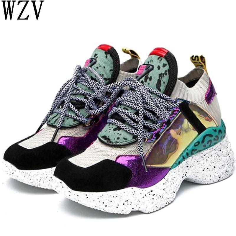 2019 en cuir véritable femmes baskets chaussures décontractées respirantes chaussures de femme femmes Chunky rue tricot épais semelles femmes baskets