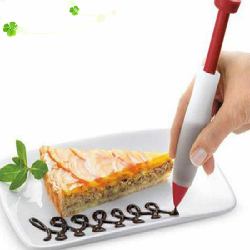 1Pcs Pastry Cream Chocolate Decorating Syringe Silicone Plate Paint Pen Cake Cookie Ice Cream Decorating Pens