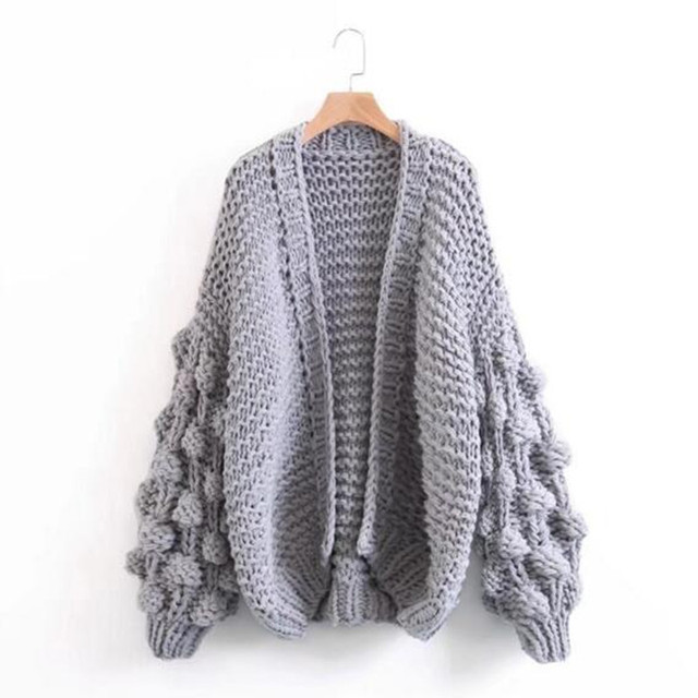 9e125d32c3 2017 V Neck Ball shape Cardigan Sweater Retro Women Long Sleeve Knitted  Knitwear Jumper kleding jerseis mujer femme gray pink