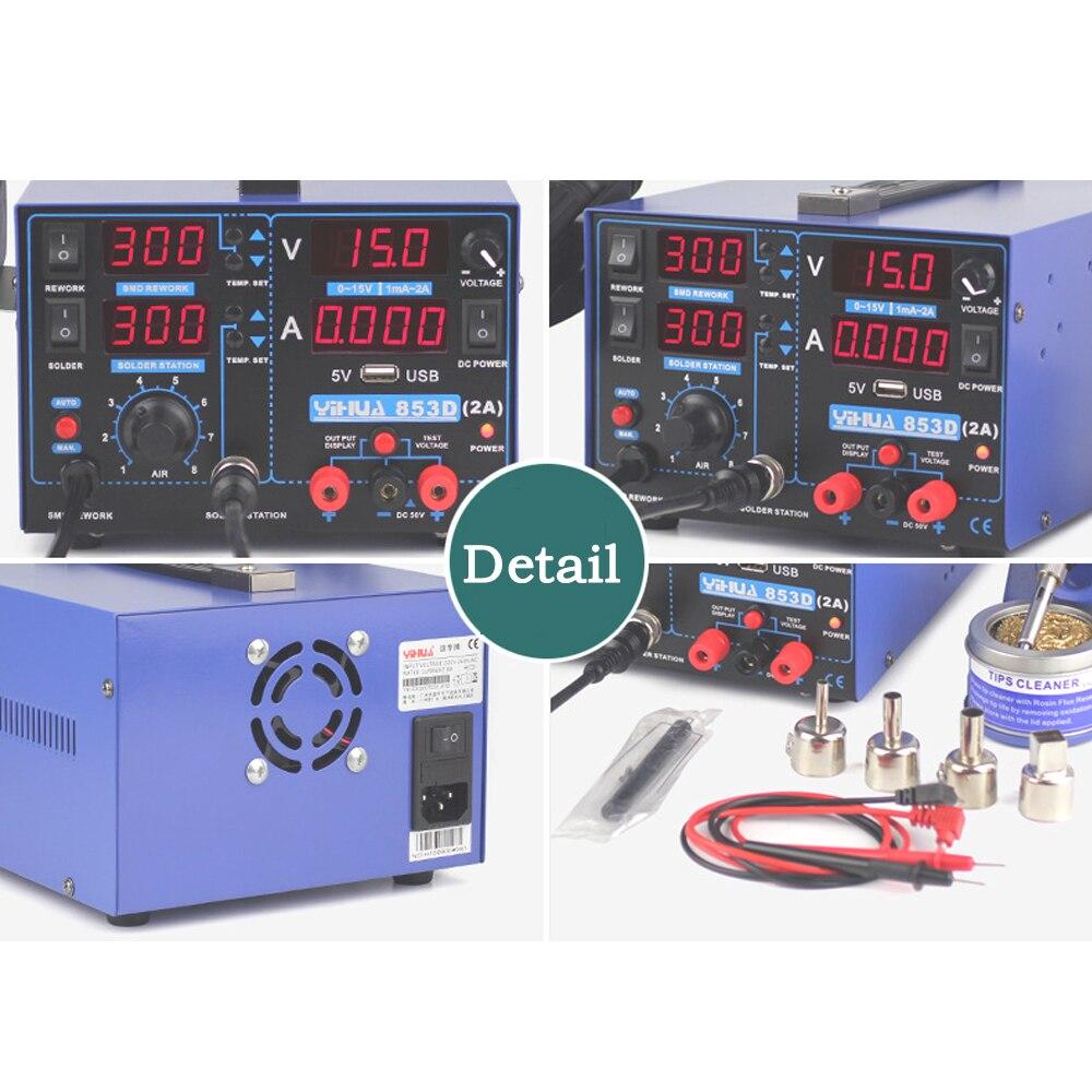 Stacja lutownicza YIHUA 853D 2A 15V USB BGA SMD DC zasilacz Hot wiatrówka lutownica Rework stacja lutownicza High Power 220V