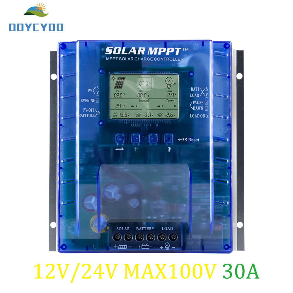 OOYCYOO MPPT Charge Controller 30 amp, 12V/24V Auto,Max 100V Input Solar Regulator,with LCD Display for Lead-Acid OOYCYOO MPPT Charge Controller 30 amp, 12V/24V Auto,Max 100V Input Solar Regulator,with LCD Display for Lead-Acid