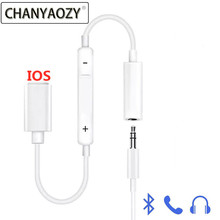 For Lightning to 3.5 mm headphone jack adapter Bluetooth audio converter for call iPhone 6 6S 7 8 plus X XS XR Max IOS splitter double jack audio adapter for iphone 7 8 x xs xr support ios 12 charging music or call for lightning headphone adapter converter