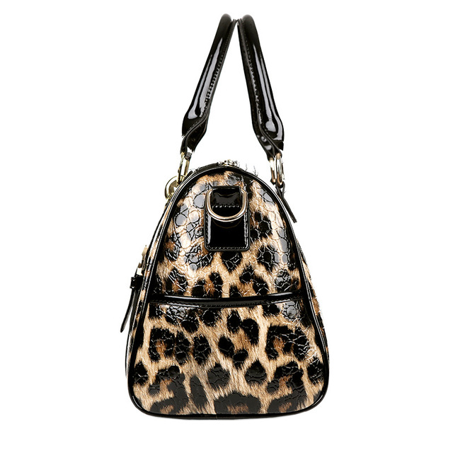 ZOORON 2017 leopard leather bright face women handbags women single shoulder handbag lady fashion crossbody handbag two piece