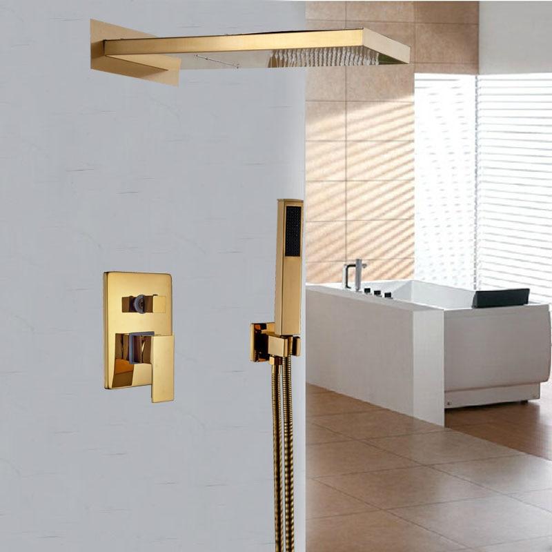 Modern 3 Ways Mixer Valve Rain Waterfall Shower Mixer Faucet with Handshower Golden Bathroom Mixer Taps