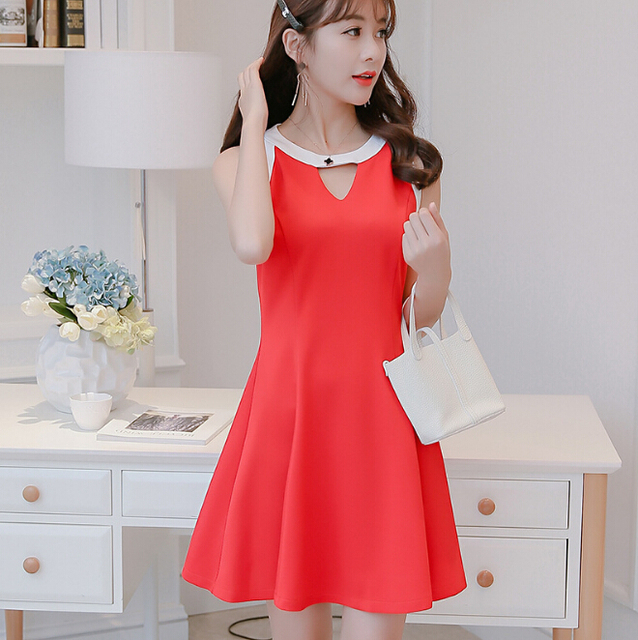 61d81f7368b2 Korean Summer dress women clothing cute slim show thin sleeveless bodycon  dress fashion hollow out patchwork red dress Vestidos