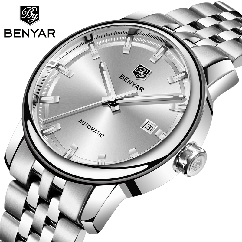 BENYAR Top Brand Luxury Mens Watches Business Full steel Fashion Casual Waterproof Automatic Watch Mens Clock Relogio MasculinoBENYAR Top Brand Luxury Mens Watches Business Full steel Fashion Casual Waterproof Automatic Watch Mens Clock Relogio Masculino