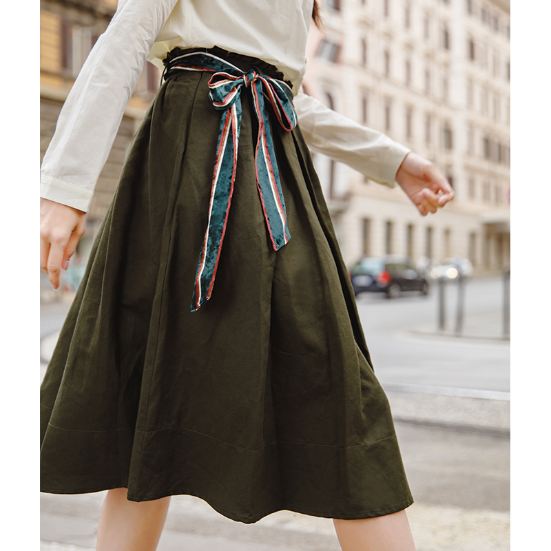 INMAN Women A Line Special Color Belt Knee Length Cotton Lady Skirt