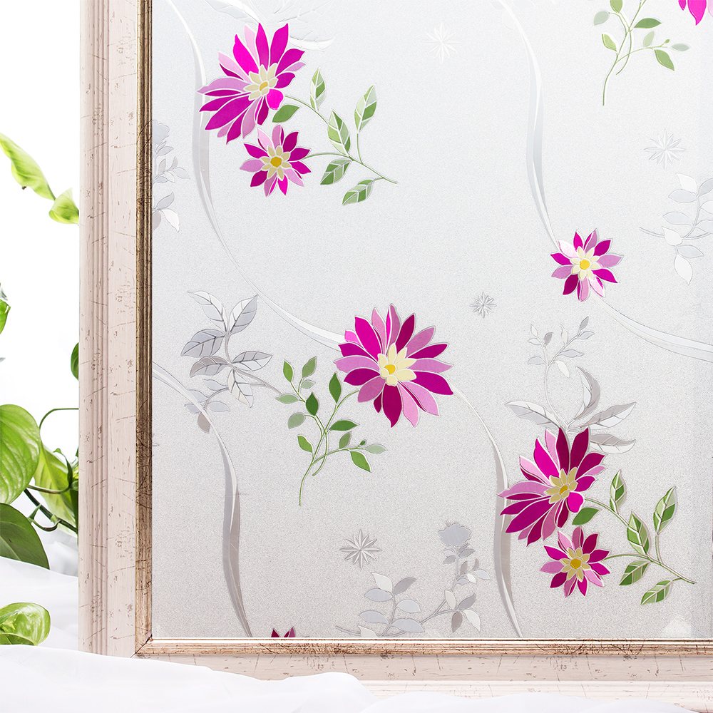 CottonColors Window Privacy Films Home Decorative No-Glue 3D Static Flower PVC Decoration Glass Sticker Size 60 x 200cm