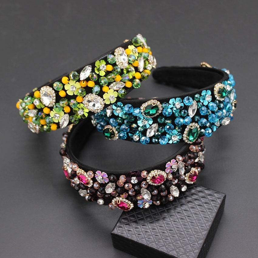 Image 3 - Handmade Wedding Hair AccessoriesLuxury Charm Baroque Sequins Bead Crown Tiara  Hair Bands Crystal Headband 269-in Hair Jewelry from Jewelry & Accessories