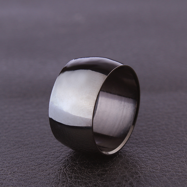 Free Shipping 316L Stainless Steel Wide Band Rings Wide 12mm Men Jewelry Black Arc Rings Fine Jewelry Wedding Rings For Women