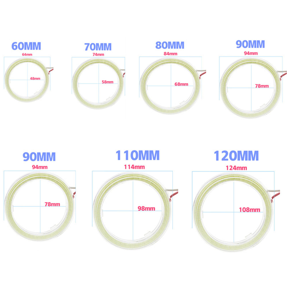 2Pcs COB 60mm 80mm 120mm 12V DC LED Car Lights Auto Angel Angelic Eyes With Cover Halo Rings 70mm 90mm 100mm 110mm in Car Light Assembly from Automobiles Motorcycles