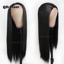 QD Tizer שיער ארוך ישר שיער תחרה פאות טבעי רך שיער Glueless חום עמיד סינטטי תחרה קדמית שחור נשים