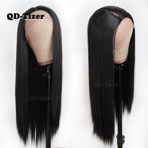 Image 1 - QD Tizer שיער ארוך ישר שיער תחרה פאות טבעי רך שיער Glueless חום עמיד סינטטי תחרה קדמית שחור נשים