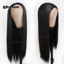 QD-Tizer Hair Long Straight Hair Lace Wigs Natural Soft Hair