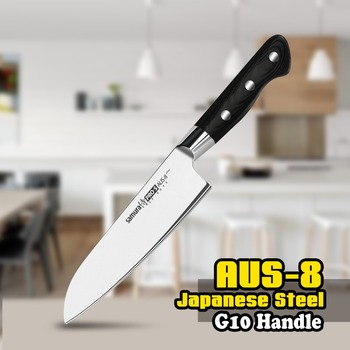 Free shipping SP-0095 7 Inch Santoku Knife AUS-8 Japanese Stainless Steel Black G10 Kitchen Chef Blade Slicing