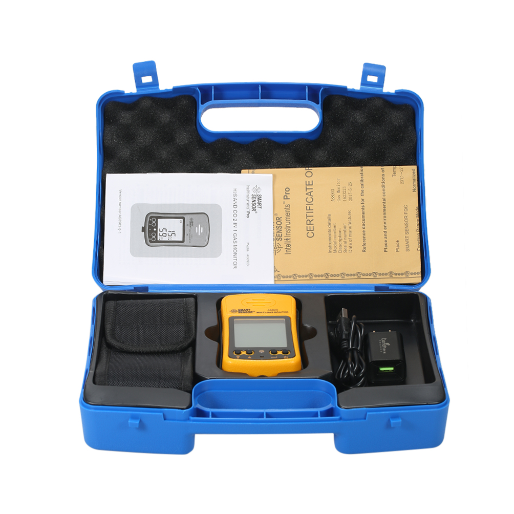 AS8903 Portable haute sensibilité CO capteur de gaz moniteur LCD affichage 2 en 1 détecteur de gaz de monoxyde de carbone/sulfure d'hydrogène
