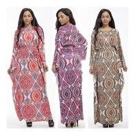 Resorte Libre del envío Mercancías de la Calidad de Las Mujeres del Nuevo Estilo de Impresión Vestido Largo Vestido de Verano de La Manga Completa Con Cuello En V Imperio Playa Protector Solar